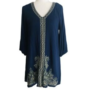 Miami  XS Dress Navy Blue Embroiderd Long Sleeve F